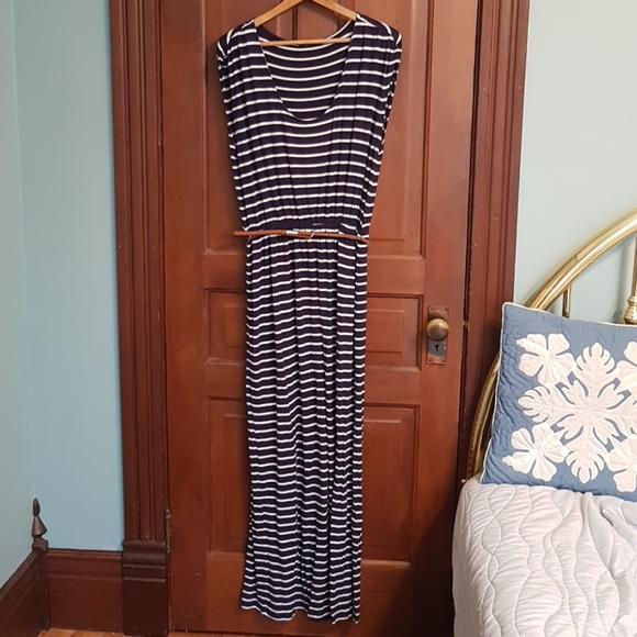 Dex Navy and White Striped Maxi Dress